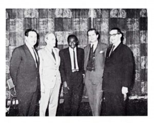 From left to right: Mr. K. Woodward (Secretary), Mr. D. C. D. Kemp (President), Mr. Vince G. Nwuga, Mr. Peter Blythe, and Dr. Leonard Cohen.